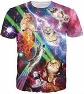 Gigantisch fout katten festival shirt Maat M Crew neck