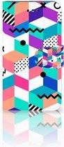 Nokia 1 Wallet Book Case Hoesje Design Blocks Colorful