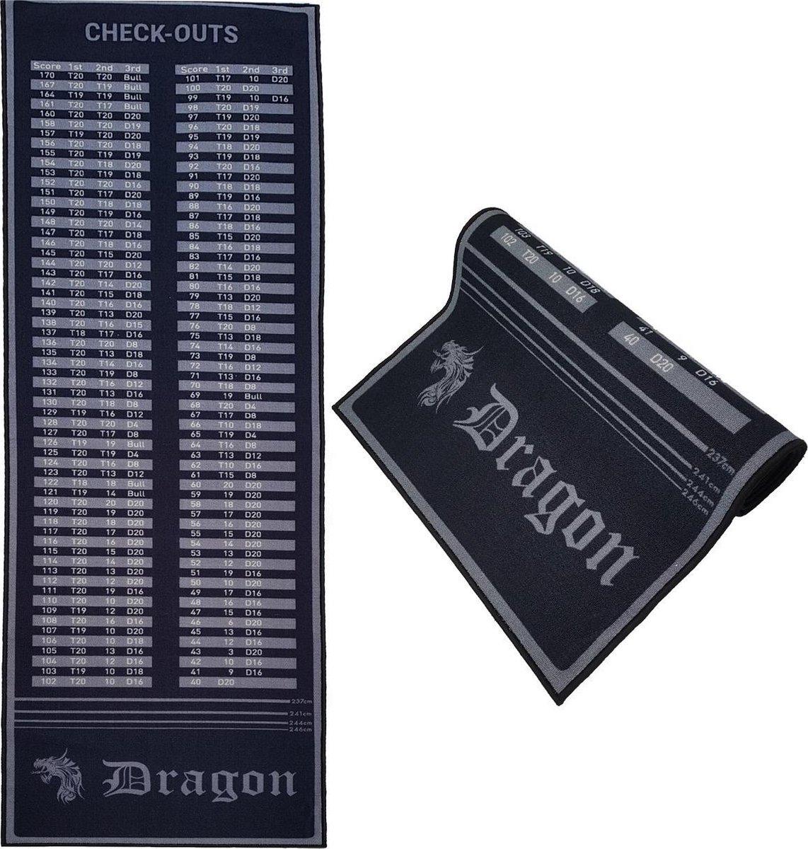 Dragon Darts - darmat - finish dartmat - 300*80 - zwart-antraciet