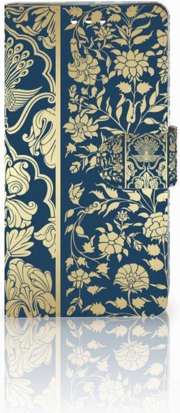 Sony Xperia XZ1 Uniek Bookcase Hoesje Golden Flowers