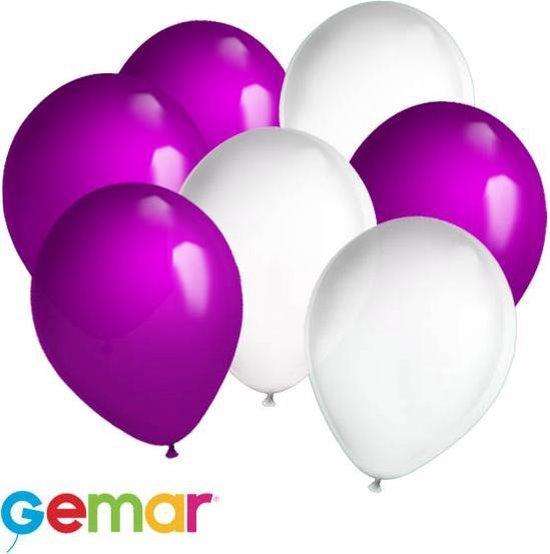 30x Ballonnen Wit en Paars (Ook geschikt voor Helium)