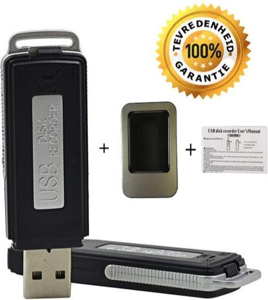 8 GB Mini USB Stick - Spy Voice Recorder – USB stick – Dictafoon – Audio Recorder - Inclusief opbergdoosje