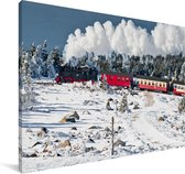 Een stoomlocomotief in de sneeuw Canvas 60x40 cm - Foto print op Canvas schilderij (Wanddecoratie woonkamer / slaapkamer)