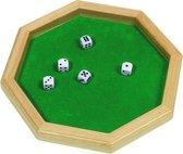 DOBBELSTEENBAK achthoekig 25,7x25,7cm, met 5 dobbelstenen, i