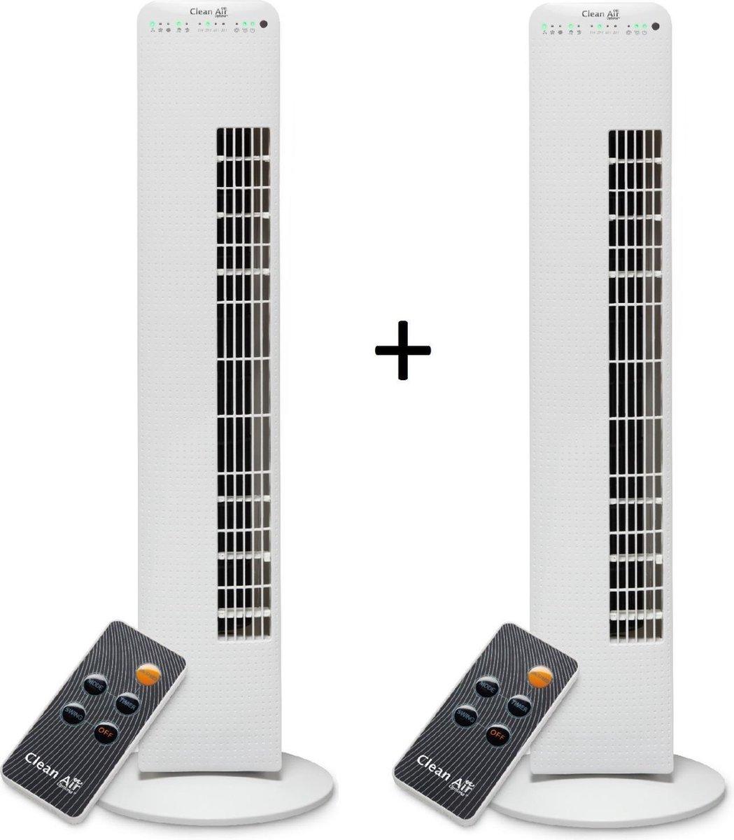 Clean Air Optima® 2 stuks CA-405 – Luxe Torenventilator – Ventilator met Ionisator