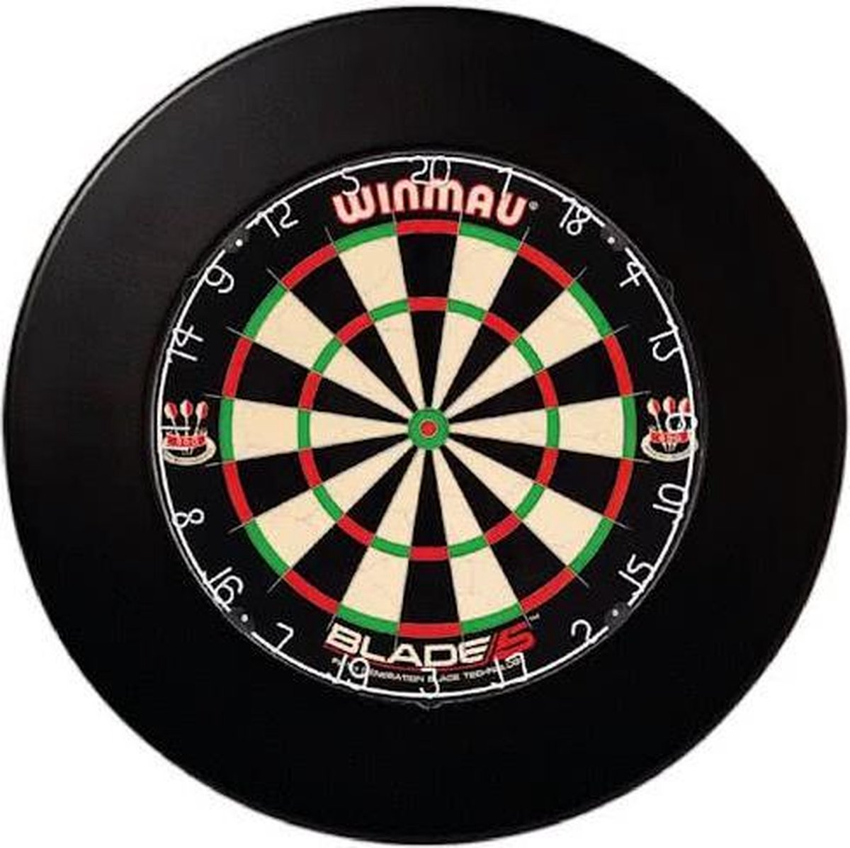 winmau blade 5 incl. rubberen surround ring zwart en scorebord