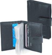 Zwarte Creditcardhouder Pasjesmapje Echt Leer voor 22 pasjes