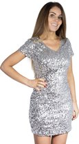 Pailletten jurkje zilver L/XL