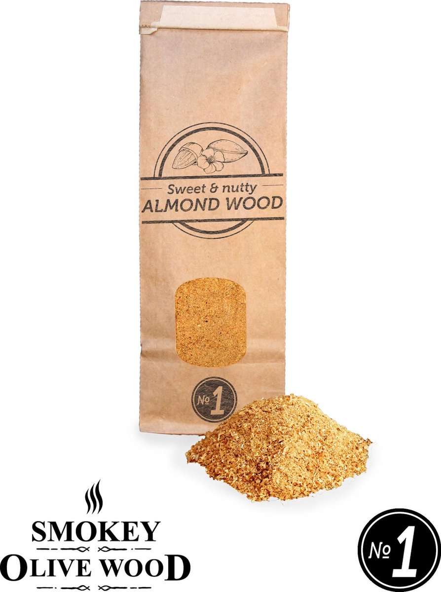 Smokey Olive Wood - Rookmot - 300 ml, AMANDELHOUT - Rookmeel fijn ø 0-1mm
