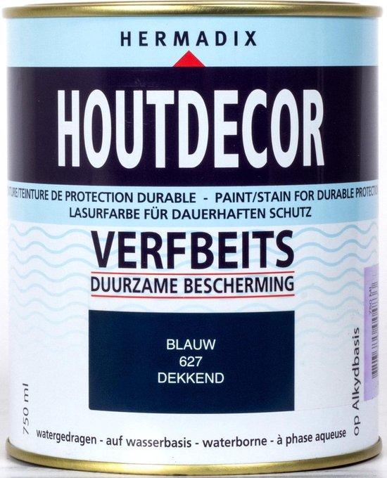 Hermadix Houtdecor Verfbeits dekkend - 0,75 liter - 627 Blauw