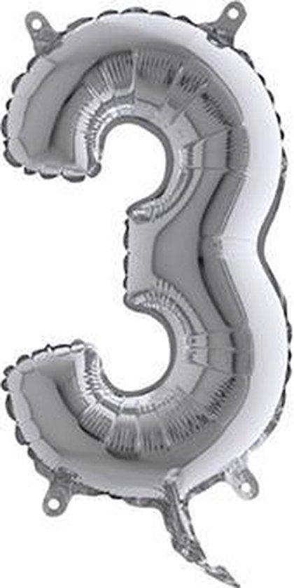 Grabo balloon - Folieballon - Cijfer 3 - Zilver - 35cm