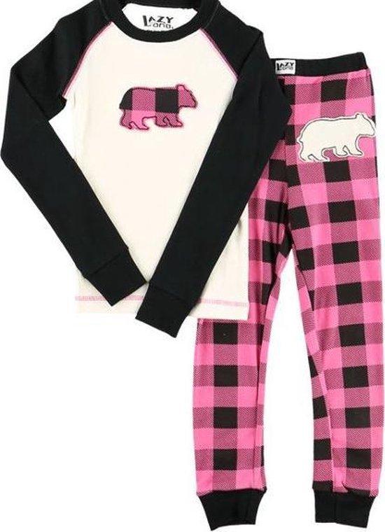 Kinderpyjama LazyOne Moose Plaid roze met bedrukte broek - 98
