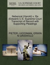 Omslag Nebenzal (Harold) V. Re (Edward) U.S. Supreme Court Transcript of Record with Supporting Pleadings