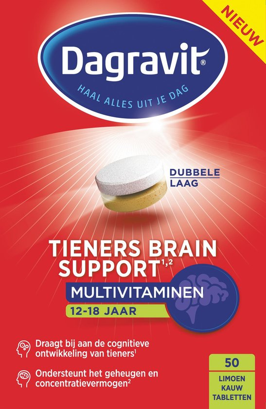 Dagravit Tieners Brain Support Multivitaminen - 50 kauwtabletten