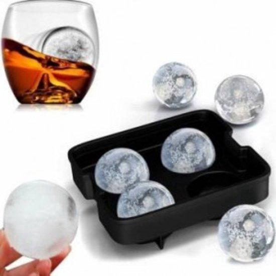 Whiskey Ice Cube Ijsblokjes – Ijsklontjes vorm rond siliconen – Ijsballen vorm – 4 ballen - Met deksel - Zwart