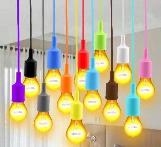 LED lamp DIY   pendel hanglamp - strijkijzer snoer   E27 siliconen fitting   baby blauw