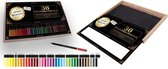 36 Professionele Kleurpotloden in Houten Opbergdoos| Coloured Pencils | Potlood Met Zachte Punt | Optimale Kleurafgifte | Kleuren | Tekenen | Inkleuren