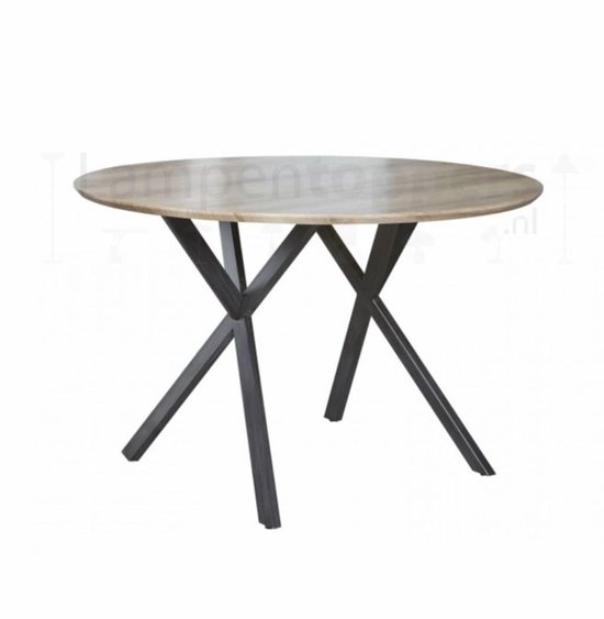 Duverger® Eettafel - rond - dia 120 cm - eiken fineer antiquewash - zwart gepoedercoat metalen frame - Duverger