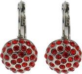 Klassieke oorbel hanger rond met rode stenen