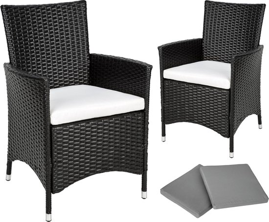 TecTake - tuinset 2 * comfortabele stoel aluminium / wicker 401469