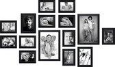 Deknudt Frames Fotowand zwart, 15 fotokaders S41VH2 met handige meetlat voor plaatsing.      11x 10x15cm, 2x 13x18cm,  2x 20x30cm fotomaat 0x0 cm