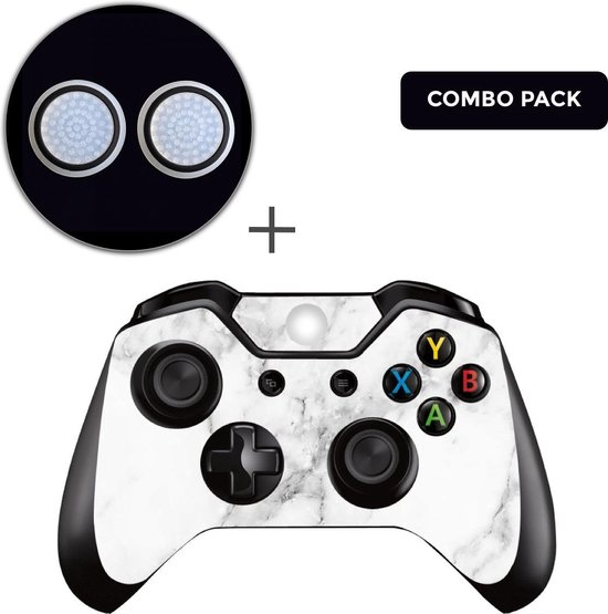 Marmer Wit Combo Pack – Xbox One Controller Skins Stickers + Thumb Grips