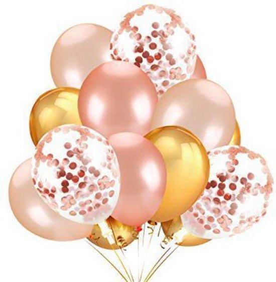 Confetti Ballonnen Set 15 Stuks Groot (32 inches) |Rose| Baby Shower Bruiloft Verjaardag Feestje