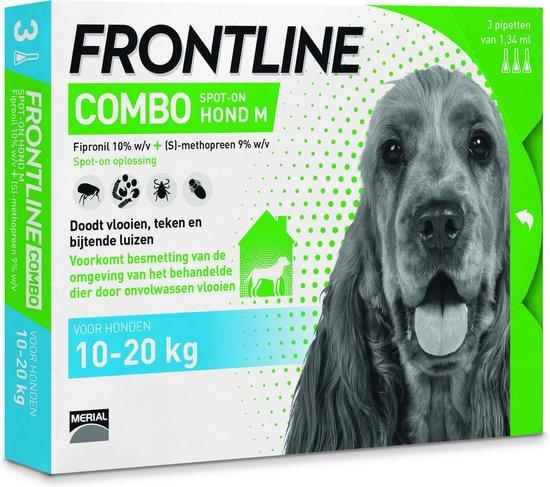 Frontline Combo - M: van 10 tot 20 kg - Anti vlooienmiddel en tekenmiddel - Hond - 3 pipetten
