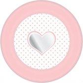 Papieren bordjes hartje geboorte meisje 8 stuks