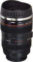 Koffie Beker | Camera Lens Reizen Thermos | RVS Geïsoleerde Cup met Easy Clean Deksel | Zwart | Vaatwasserbestendig | Kunststof