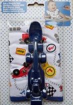 Racewagen vliegtuig lepel + slabber voor baby peuter