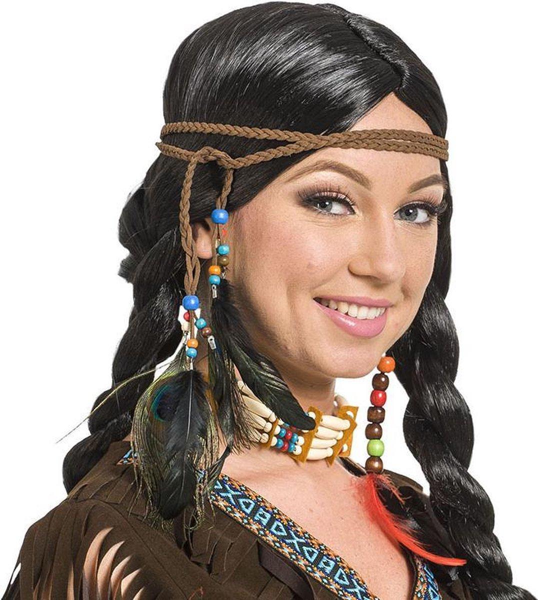 Indianen haarband met veren en kralen - Folat