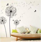 Mooie Muursticker Paardenbloemen met Vlinders Design