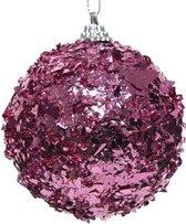 1x Fuchsia roze folie kerstballen 8 cm kunststof - Onbreekbare kerstballen glans - Kerstboomversiering roze