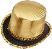 Hoge hoed goud met pailletten