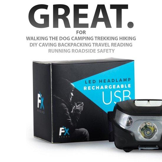 FFEXS Hoofdlamp - 160 Lumen - Zwart - USB-oplaadbare batterij - Universele hoofdband