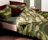 2 persoons dekbedovertrek legerkleuren camouflage groen