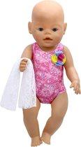 Badpak voor babypop zoals baby born - Zwemkleding met hartjes + doekje van kant