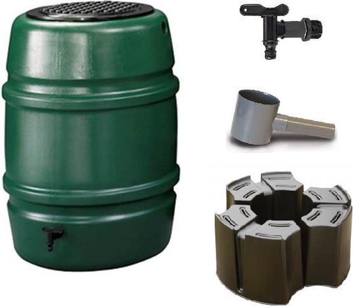 Regenton voordeelset | Harcostar 168liter groen + standaard + vulautomaat 70/80mm.