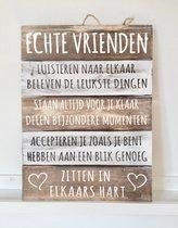 """Wandborden Hout Spreukbord Woondecoratie Cadeau Verjaardag """"Echte Vrienden"""""""