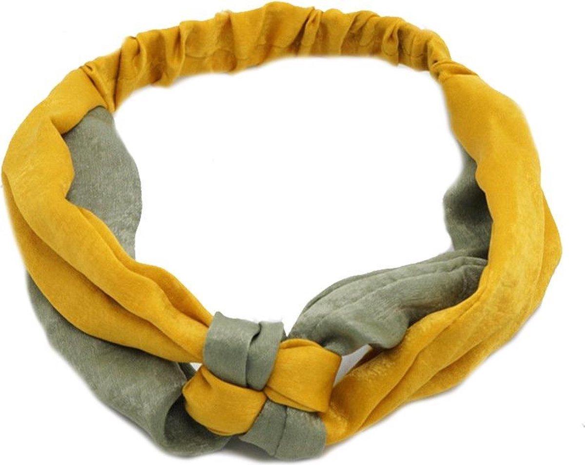 Haarband Satijn Twist/Knot | Geel/Groen | Polyester | Elastische Bandana | Fashion Favorite - Fashion Favorite