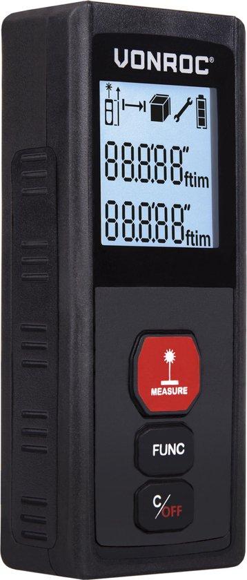 VONROC Laser afstandsmeter – 30 meter bereik – Meet lengte (m1), oppervlakte (m2) & volume (m3)