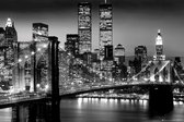 New York Manhattan poster skyline nacht Brooklyn Bridge 61x91.5cm.