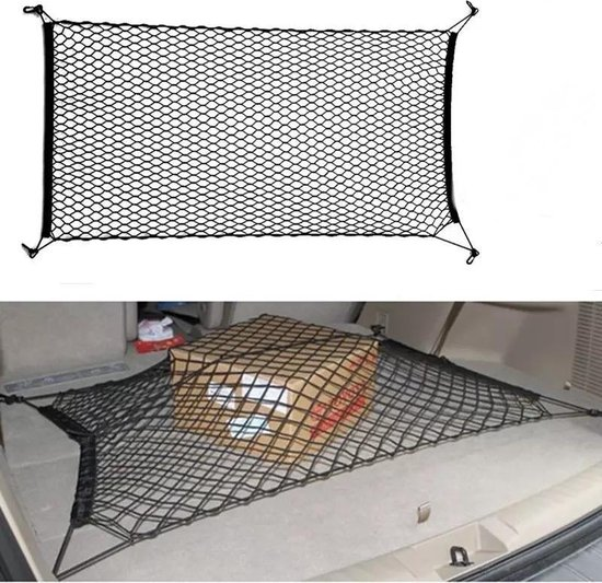 Afbeelding van Universele auto kofferbak cargo organizer net - 4 schroef pluggen meegeleverd - Bagagenet - Kofferbaknet