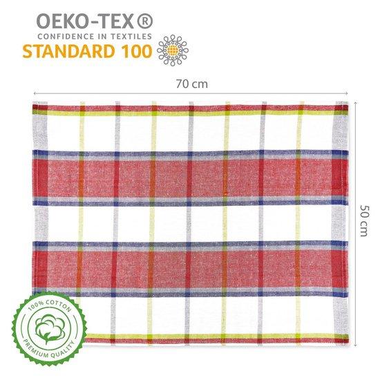 Lumaland - Theedoeken - Santorini serie - 4 kleuren - set van 4 - 100% katoen - 50x70cm - Rood