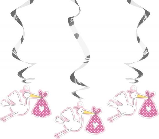 Hangdecoratie geboorte meisje 3x - babyshower versiering