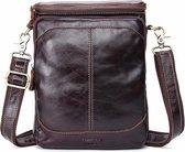 Lederen schoudertas - donker bruin