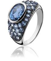 ZINZI zilveren ring blauw ZIR1045B
