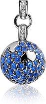 Zinzi zih619 - Zilveren hanger Save the World - Spinel - Blauw