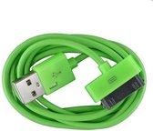 2 stuks - iPhone 4 USB oplaad kabel groen | 1 METER kabeltje voor iPhone 4/4G/4S/3G/3GS/iPod 1/2/3